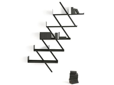 Wall-mounted floating steel bookcase MINIBOOXX