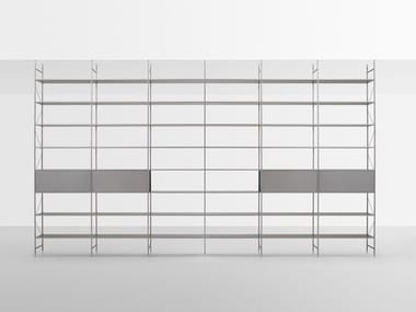 Contemporary style open floor-ceiling mounted divider aluminium shelving unit MINIMA 3.0 ROOM DIVIDER