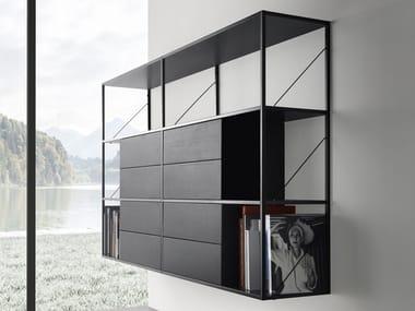 Open floating aluminium bookcase MINIMA 3.0 HANGING