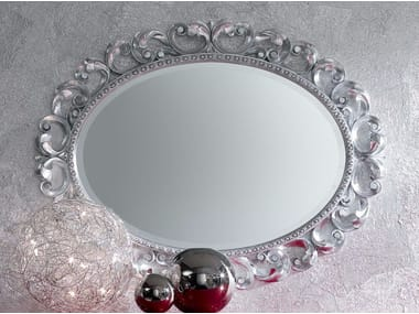 Oval wall-mounted framed mirror MINIMAL BAROQUE | Wall-mounted mirror