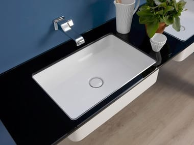 Rectangular ceramic washbasin MINIWASH | Undermount washbasin