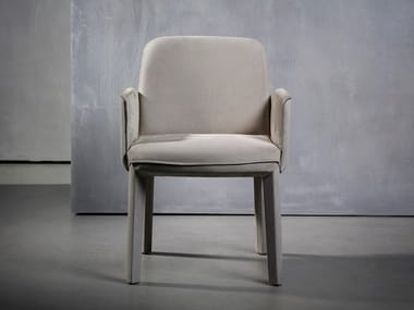 Upholstered fabric chair with armrests MINNE | Chair with armrests