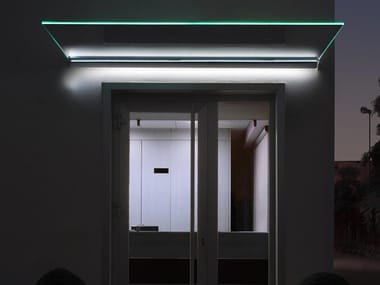Glass door canopy with built-in lights MIRA