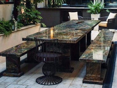 Rectangular marble garden table MIRACH