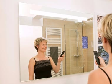 Wall-mounted mirror with integrated lighting and wi-fi MIRALITE CONNECT