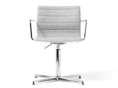 Fabric reception chair with 4-spoke base with armrests MISS   Chair with armrests