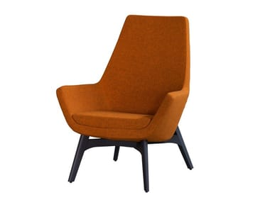 Upholstered fabric armchair with headrest MISS WOOD