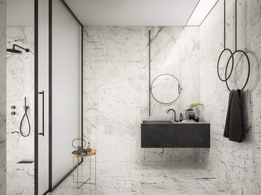 Indoor porcelain stoneware wall/floor tiles with marble effect MISTIQ WHITE
