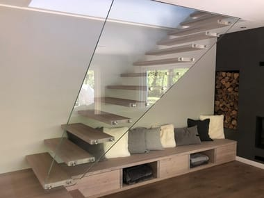 Straight wooden cantilevered staircase MISTRAL EDGE