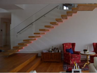 Straight LED wooden cantilevered staircase MISTRAL MAGIC