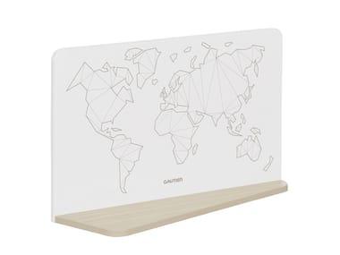 Wall shelf / dry erase board MISTRAL - WORLD MAP