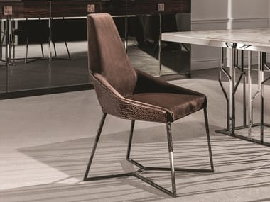 Upholstered leather chair MIU | Leather chair