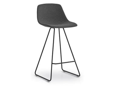 High sled base stool with back MIUNN | Sled base stool