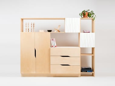 Plywood highboard with doors MIX