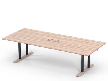 Height-adjustable rectangular wooden meeting table MN100