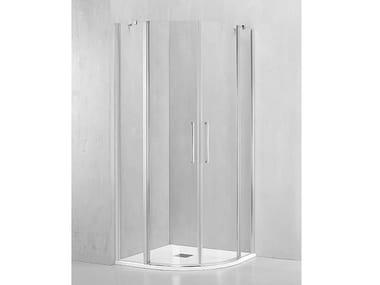Box doccia angolare semicircolare con porta a battente MO-TBA2