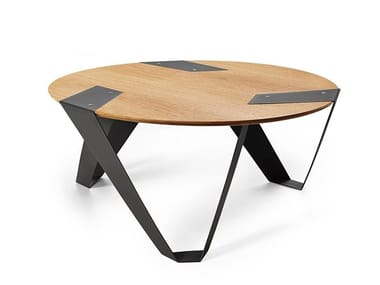 Round aluminium and wood coffee table MOBIUSH