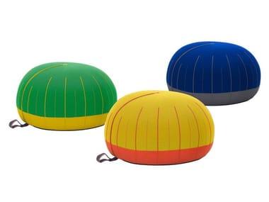Upholstered round fabric pouf MOCHI