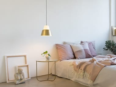 Glass and steel pendant lamp MODU M