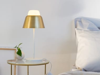 Glass and steel table lamp MODU | Table lamp