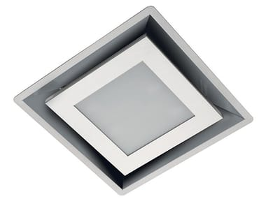 Ceiling-mounted Glass and Stainless Steel cooker hood with integrated lighting MODULAR CONTROL LED S/S
