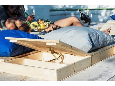 Modular wooden and fabric garden bench MODULO QUADRO