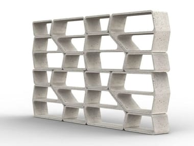 Modular cement bookcase MODULOR