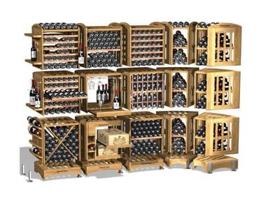 Vertical solid wood wine storage MODULOTHEQUE