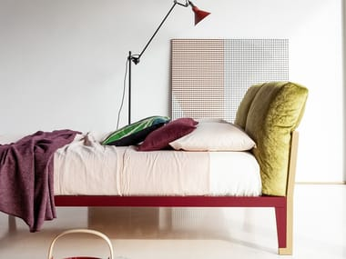 Double bed with upholstered headboard MOGLIE E MARITO