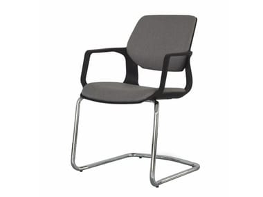Cantilever open back fabric chair with armrests MOIRA | Cantilever chair