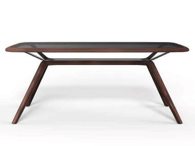 Rectangular wood and glass table MOJITO