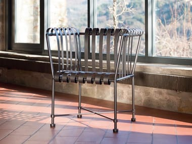 Garden galvanized steel easy chair with armrests MOLLE | Easy chair