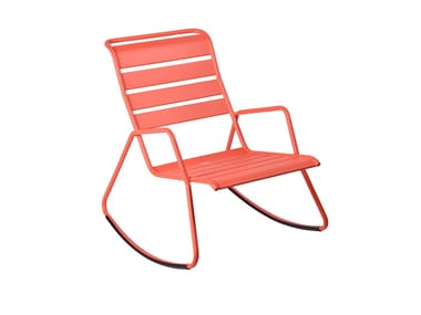 Rocking steel garden armchair with armrests MONCEAU | Rocking garden armchair