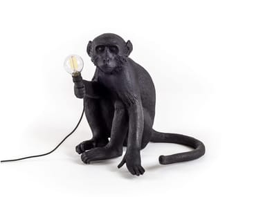 LED resin table lamp MONKEY LAMP BLACK | Table lamp