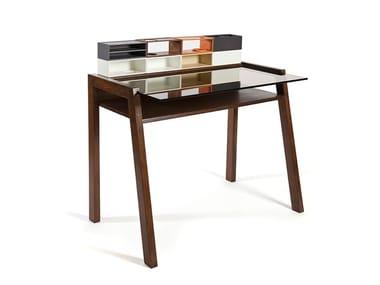 Wood and glass secretary desk MONOBLOCK
