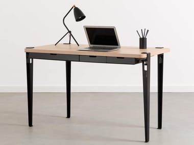 Rectangular steel and wood writing desk with drawers MONOCHROME