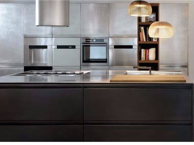 Kitchen with island MONOLIT 45° OXIDE BRONZE
