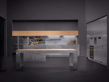 Stainless steel kitchen with island MONOLIT 90° INOX HAND-BRUSHED