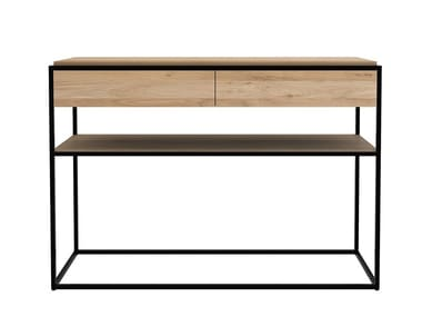 Rectangular oak console table with drawers MONOLIT | Console table