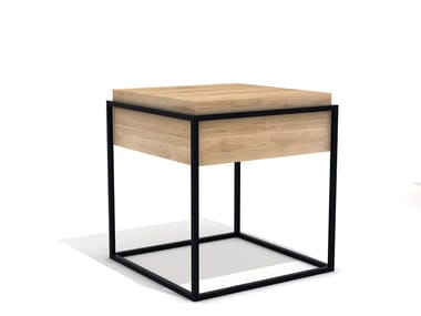 Square steel and wood coffee table MONOLIT S | Side table
