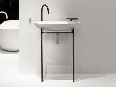 Console oval single Cristalplant® washbasin MONSIEUR