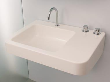 Rectangular wall-mounted ceramic washbasin MONTECATINI