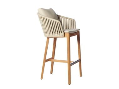 High teak stool with back MOOD | High stool