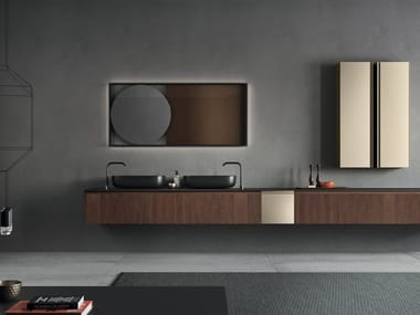 Wall-mounted vanity unit in new finishes MOODE | Walnut vanity unit