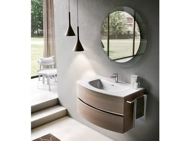 Wall-mounted vanity unit with mirror MOON 06