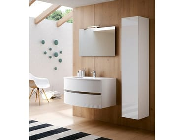 Wall-mounted vanity unit with cabinets MOON 07