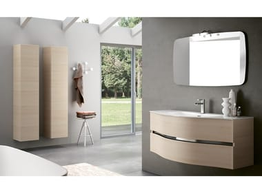 Wall-mounted vanity unit with cabinets MOON 08
