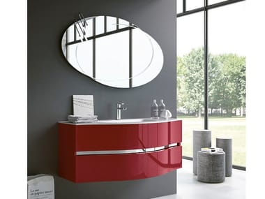 Wall-mounted vanity unit with mirror MOON 10