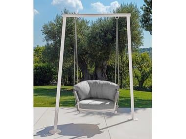 Hanging fabric garden armchair with armrests MOON ALU   Hanging garden armchair