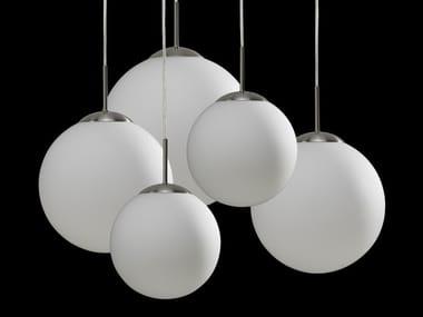Lampada a sospensione a luce diretta alogena in vetro MOON BAL